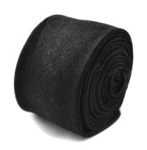Frederick Thomas black skinny linen style tie FT1813 - $15.57