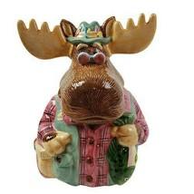 """Vintage 1995 Enesco Grandpa Moose Fisherman Cookie Jar 11.5"""" - $77.35"""