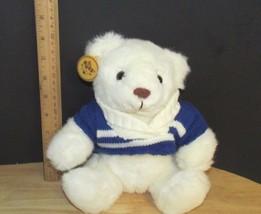 Russ soft pets Caress Soap white polar Bear Plush Teddy blue sweater w/ ... - $12.02