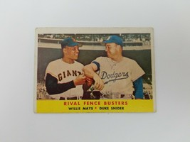 1958 Topps Rival Fence Busters Baseball Card #436 Willie Mays Duke Snide... - $27.08