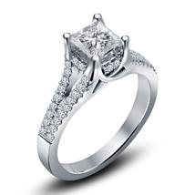 Princess Cut Diamond Womens Engagement Ring 14k White Gold Finish 925 Si... - £59.95 GBP