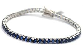 Armband Tennis Silber 925, Zirkonia Kubische Blau 3 mm, Länge 18 CM - $78.95