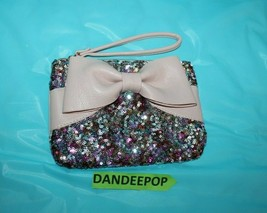 NWT Betsey Johnson Pink /& Black Be Mine Bow Ladies Wristlet