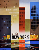 "20x30""Travel Poster on Canvas.Home Room Interior design.Visit New York.6615 - $60.78"