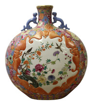 Chinese Famille Rose Dimensional Flower Bird Bats Flat Flask Vase cs3031 - $1,680.00
