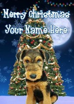 Airedale Terrier Puppy Merry Christmas Personalised Greeting Card Xmas c... - $3.90