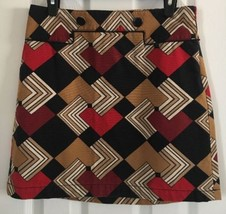 Ann Taylor Loft Mod Geometric Pencil Skirt 100% Cotton Twill Button Deta... - $11.40