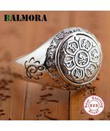 BALMORA 925 Sterling Silver Buddhism Six Words Mantra Unisex Ring - Vintage - $30.55
