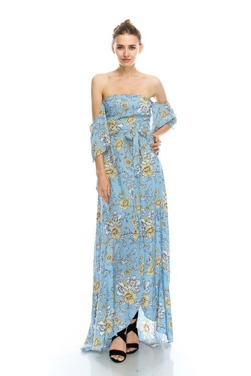 Sky Blue Floral Print Romantic Off Shoulder Maxi Dress S M or L