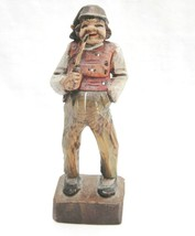 """Wooden Carved Figurine Man Smoking Long Churchwarden Pipe 5.5"""" Tall - $14.84"""