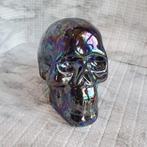 Ceramic Iridescent Skull, Fall Halloween Decor, 3 inches image 1