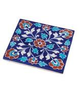 Trivet Russet Flowers Blue Jaipur Pottery Tile Hot Pad Kitchen Decor Accent - $27.00