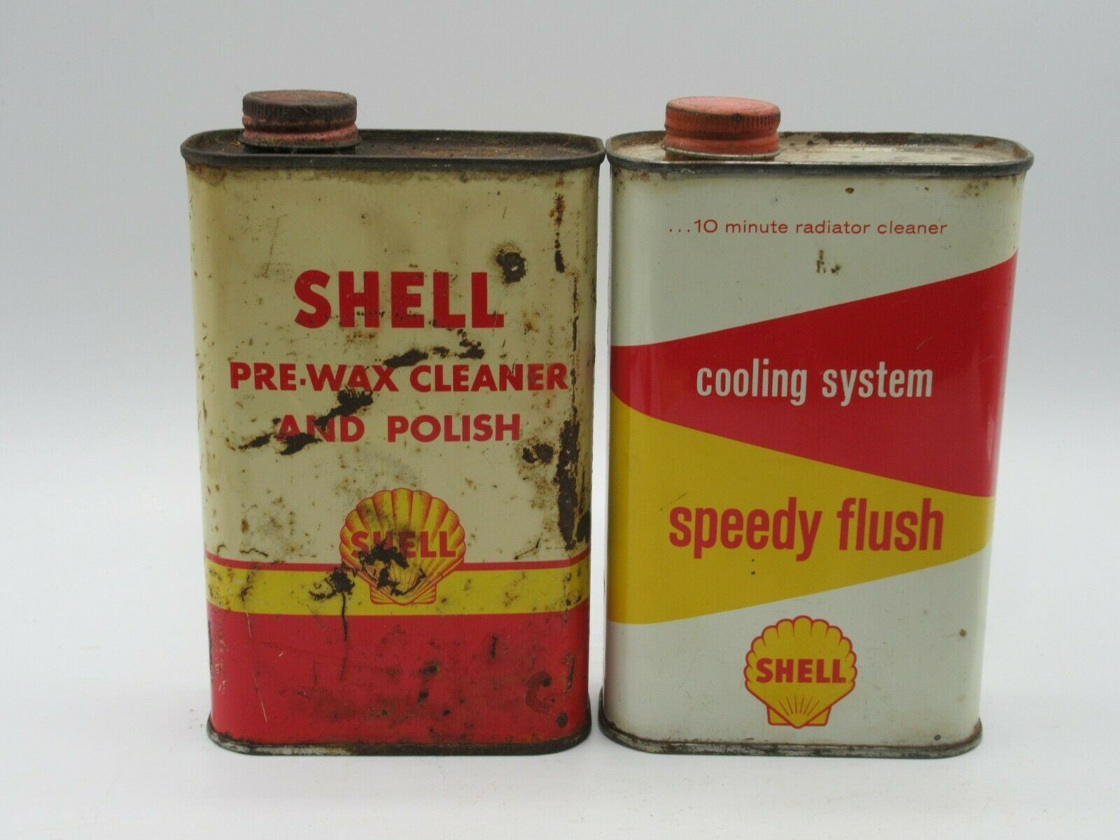 Primary image for Shell 16oz Cans - Speedy Flush Pre-Wax Cleaner and Polish Oil Tin Can Empty VTG