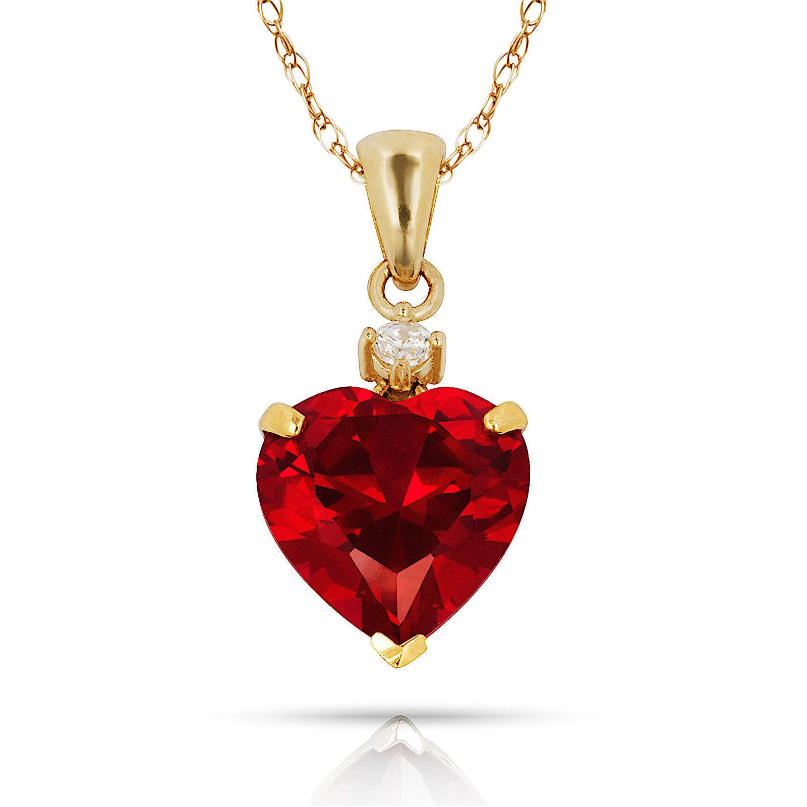 3.07Ct Created Diamond & Heart Ruby Charm Pendant14K Yellow Gold w/Chain