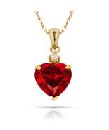 3.07Ct Created Diamond & Heart Ruby Charm Pendant14K Yellow Gold w/Chain - $68.88+