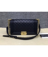 100% AUTHENTIC CHANEL NAVY BLUE QUILTED LAMBSKIN MEDIUM BOY FLAP BAG GHW - $4,588.00