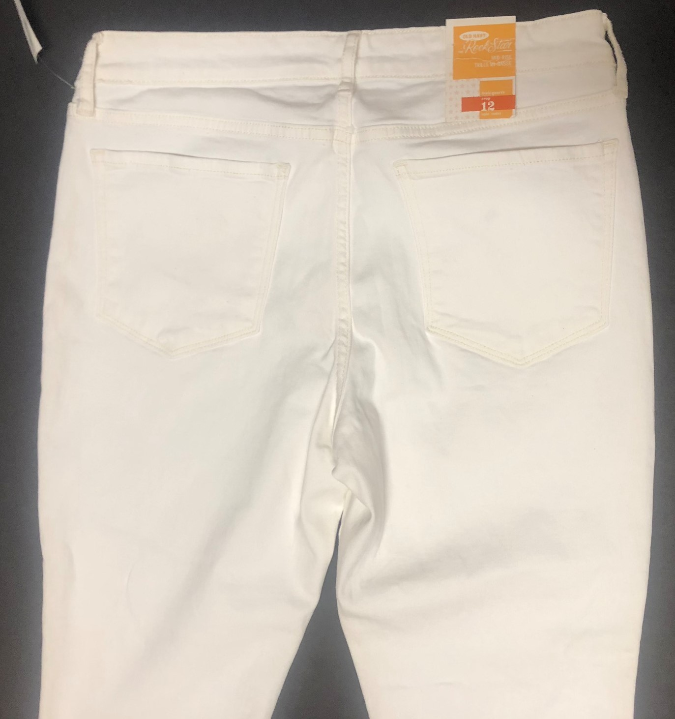 Old Navy Rock Star White Crop Jeans Sz 12 image 5