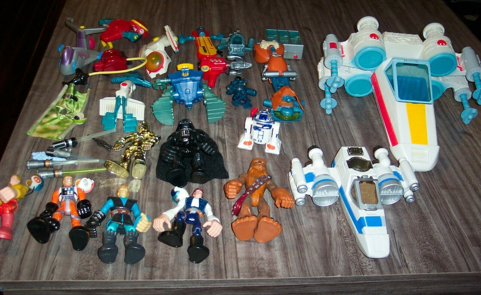 BIG Playskool Star Wars Chunky Action Figure Vehicle Toy Lot 2000's X-Wing 3-CPO - $54.45
