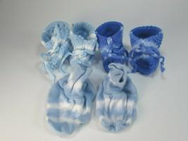 3 Pairs Blue Tie Dyed Baby Booties Boy Tie Dye 29952 - $14.84