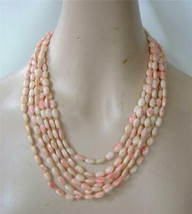 Vintage 6 Strand Pink White Glass Beads Necklace 1950's Japan Graduated Unusual - $29.69
