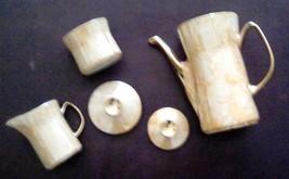 Mid Century Modern Wloclawek Porcelain Coffee Tea Pot Cream & Sugar Set ... - $62.36