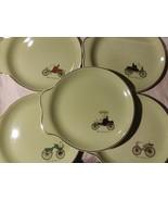 Mid Century  Salem China 1800 vintage car  Automobile Plates 23k 5 Piece... - $25.25