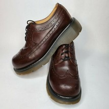 Dr Doc Martens Wingtip Platform Shoes Leather Brown Made in England 8604/92 - $49.35