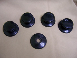 4 nos Vintage Bakelite Knobs for Drawer Pulls Pot Cover w trim ring Escu... - $29.69