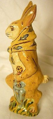 VAILLANCOURT FOLK ART RABBIT WITH UMBRELLA LTD SIGNED