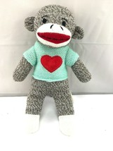 "heart shirt plush sock monkey 9.5"" stuffed animal - $19.80"
