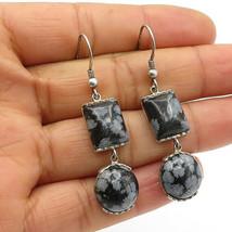 925 Sterling Silver - Vintage Cabochon Snowflake Obsidian Drop Earrings ... - $30.22