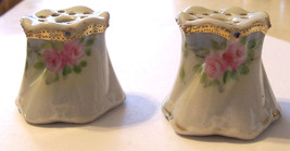 Two Vintage Porcelain NIPPON Stick Pin Holders ~ Hand Painted With Gold ... - $15.00