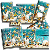 RUSTIC SEA SHELLS STAR FISH NET LIGHT SWITCH WALL PLATE OUTLET BATHROOM ... - $10.99+