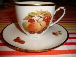 Antique Hutschenreuther Hohenberg Cup & Saucer Porcelain Olivia Fruit De... - $4.99