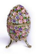 Flower Faberge Egg Trinket Box  Handmade by Keren Kopal Austrian Crystals - $93.60