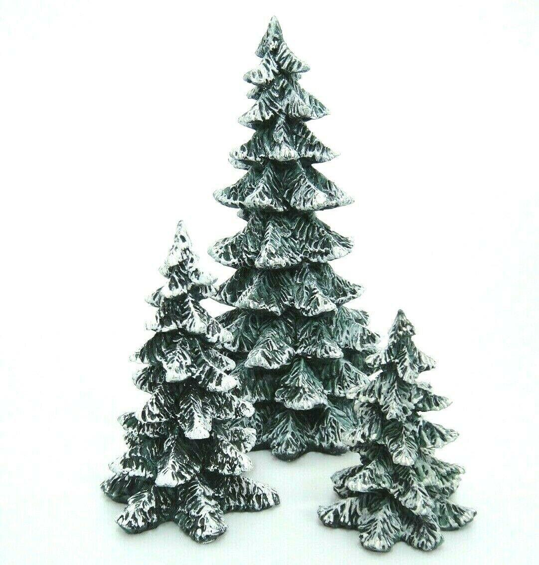 DEPT 56 SNOW VILLAGE HALLOWEEN SPOOKY BLACK GLITTER TREE Set 3 NIB
