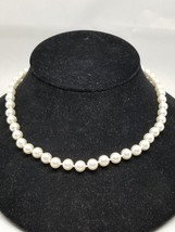 Lovely White Glowing Glass Knotted Faux 8mm Pearls Necklace - $17.09