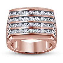 Anniversary Men's Band Ring Round Cut Diamond Pure 925 Silver Rose Gold ... - $104.99