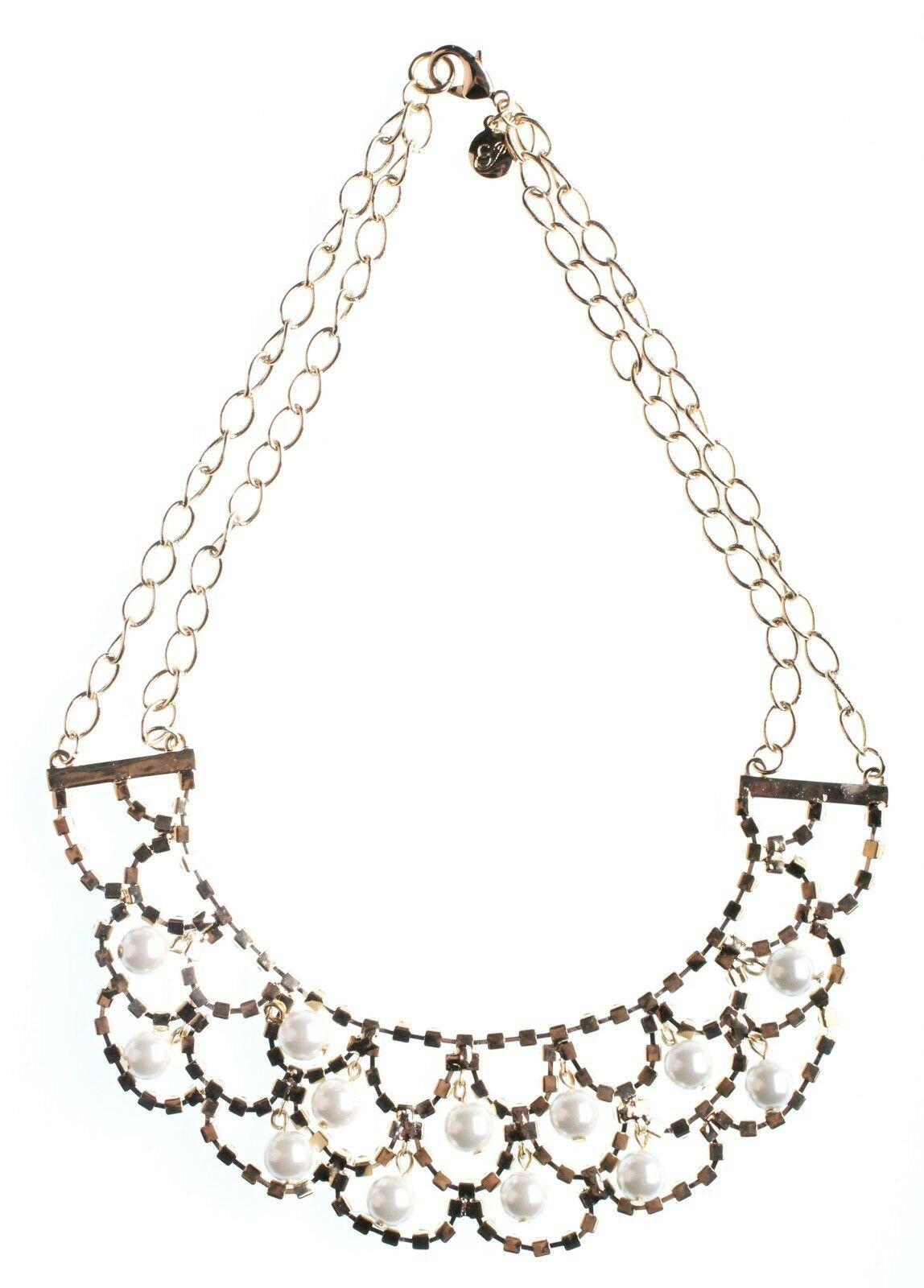 Cohesive Jewels Imitación Perlas Y Cristal Oro Chapado Vieira Collar Babero Nwt