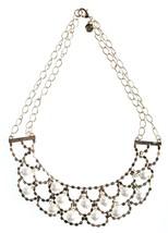 Cohesive Jewels Imitación Perlas Y Cristal Oro Chapado Vieira Collar Babero Nwt image 1