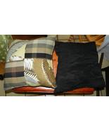 Pair of Black Brown Leaf Patchwork Print Throw Pillows  17 x 17 - $49.95