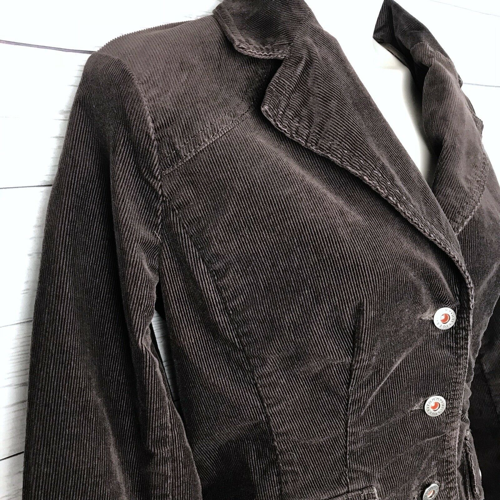 Tommy Hilfiger Corduroy Blazer Jacket Women's S Brown Stretch Button Long Sleeve image 6
