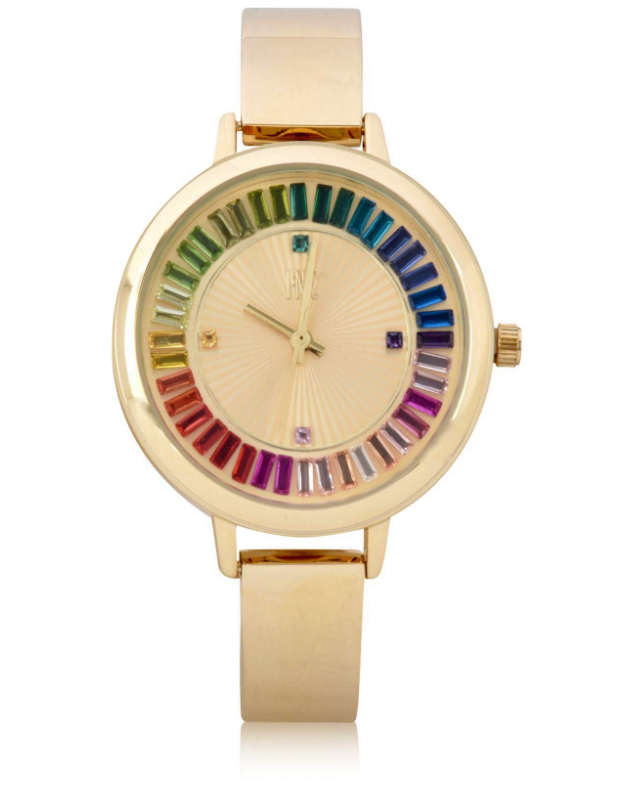 I.N.C. Women's Gold-Tone Bangle Bracelet Sunray Crystal Accents Dial 36mm Watch