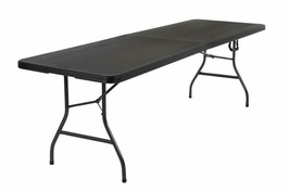 Cosco Deluxe 8 Foot X 30 Inch Fold-In-Half Blow Molded Folding Table, Black - $125.54