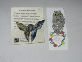 Yuzen Paper Butterfly Origami Pin Brooch & Quilled Owl Vtg Hand Crafted - $25.24