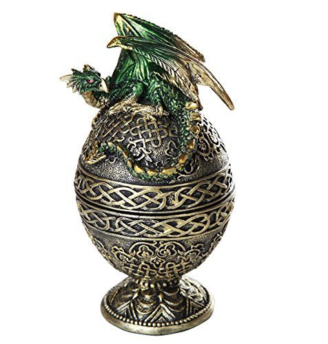 Primary image for Dragon Protector of the Golden Celtic Egg Orb Sculptural Box Collectible 6.5H