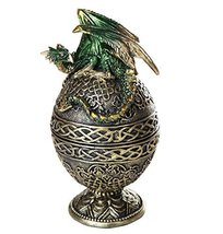 Dragon Protector of the Golden Celtic Egg Orb Sculptural Box Collectible... - $19.79