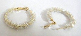 WHITE TREASURE Hoop Earrings - Omega Back - Gold - Classy Statement Fashion P2 - $5.69