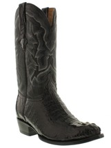 Mens Black Crocodile Leather Cowboy Boots Round Rodeo Western Alligator ... - €258,24 EUR