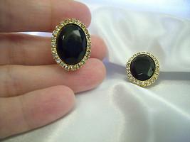 Hobe Jet Black Onyx Oval Rhinestone Frame Clip Earrings Classic Vintage ... - $16.78